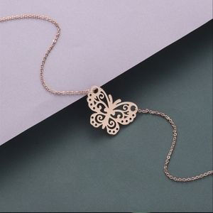 Dainty Rose Gold Butterfly Pendant Necklace